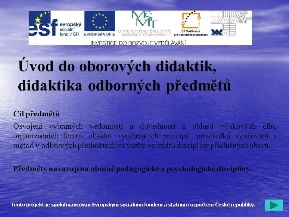 Úvod do oborových didaktik, didaktika odborných předmětů