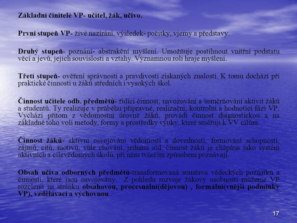 Základní činitelé VP- učitel, žák, učivo.
