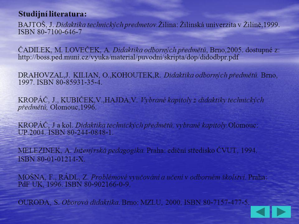 Studijní literatura: BAJTOŠ, J. Didaktika technických predmetov.Žilina: Žilinská univerzita v Žilině,1999. ISBN 80-7100-646-7.
