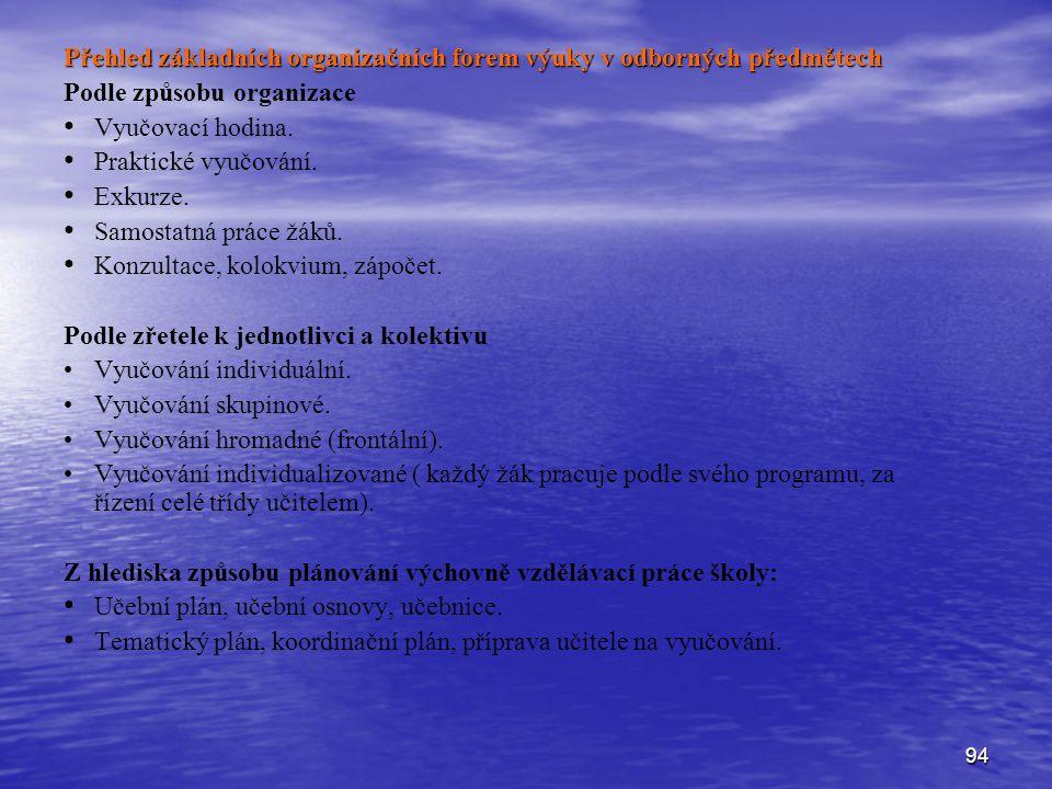 Přehled základních organizačních forem výuky v odborných předmětech
