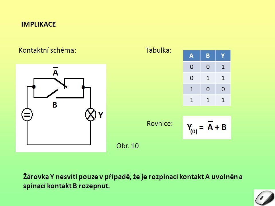 IMPLIKACE Kontaktní schéma: Tabulka: Rovnice: Obr. 10