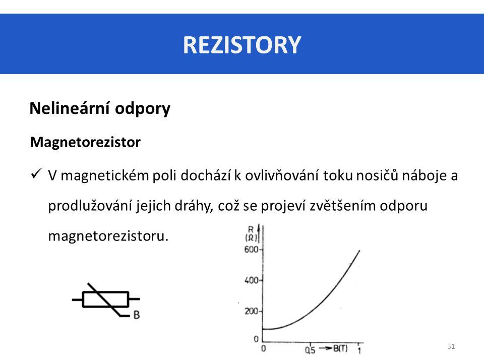 REZISTORY Nelineární odpory Magnetorezistor