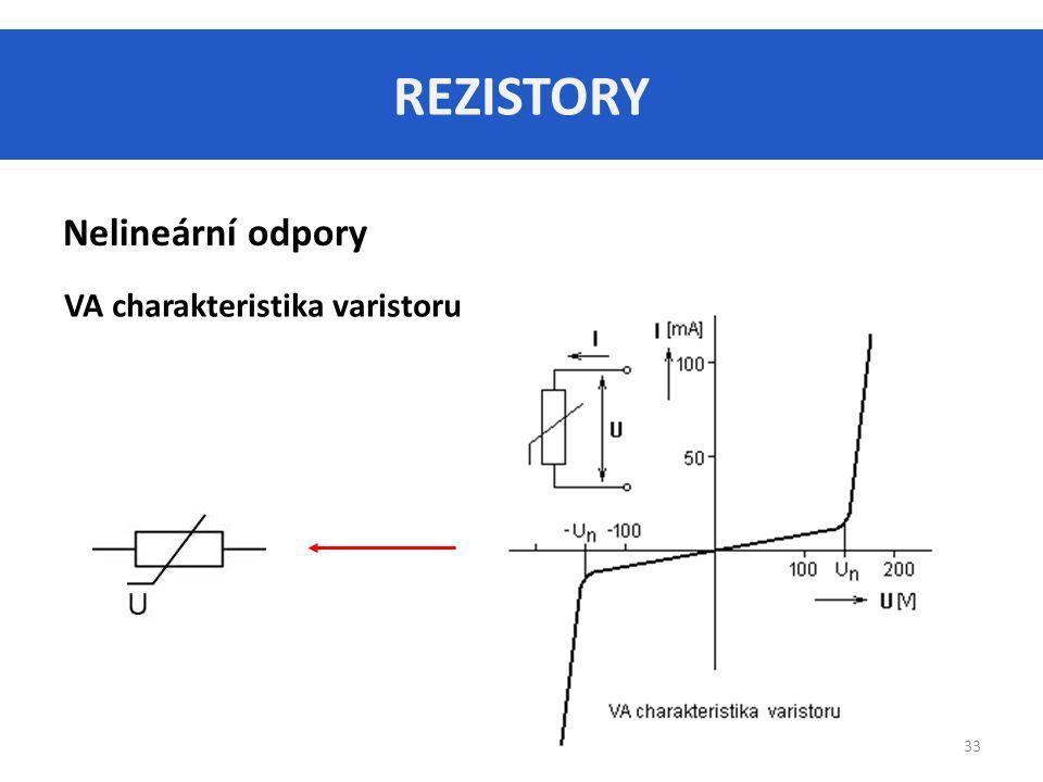 REZISTORY Nelineární odpory VA charakteristika varistoru