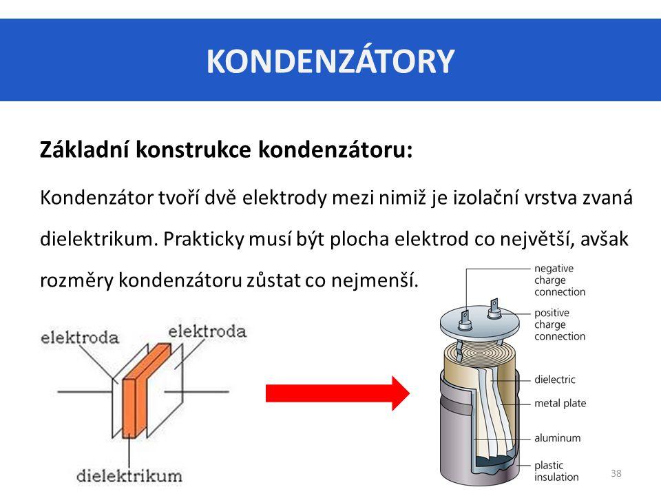 KONDENZÁTORY Základní konstrukce kondenzátoru: