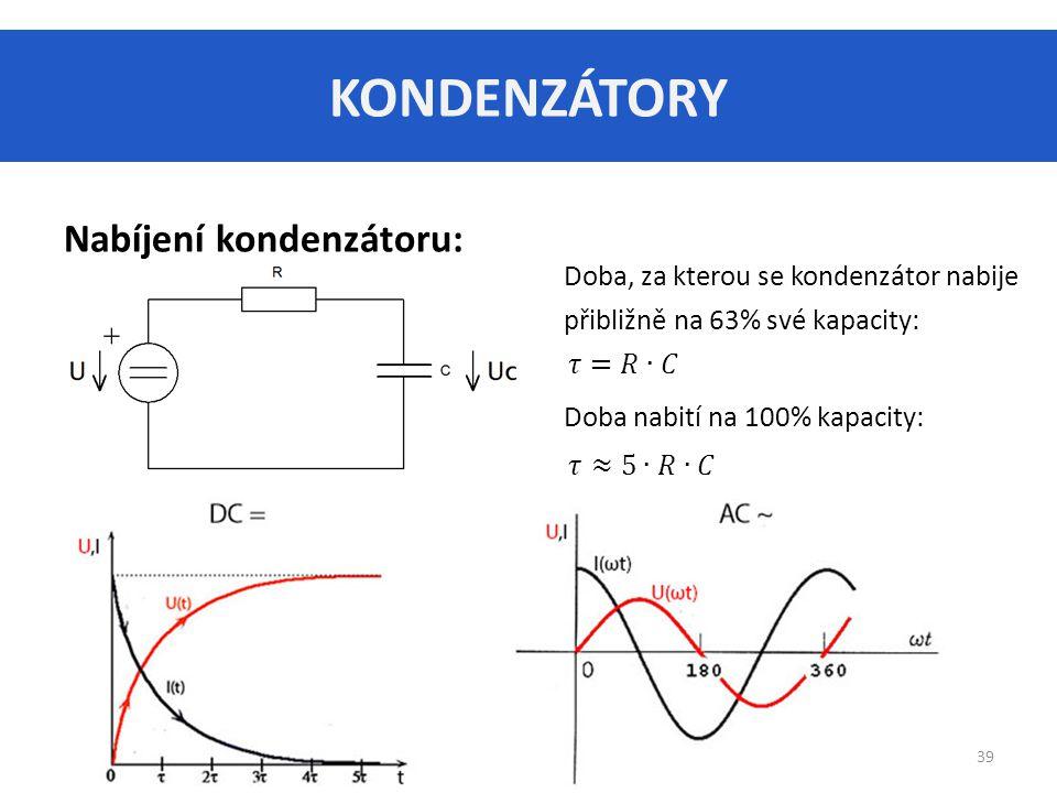 KONDENZÁTORY Nabíjení kondenzátoru: