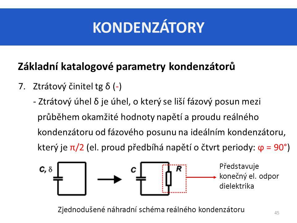 KONDENZÁTORY Základní katalogové parametry kondenzátorů