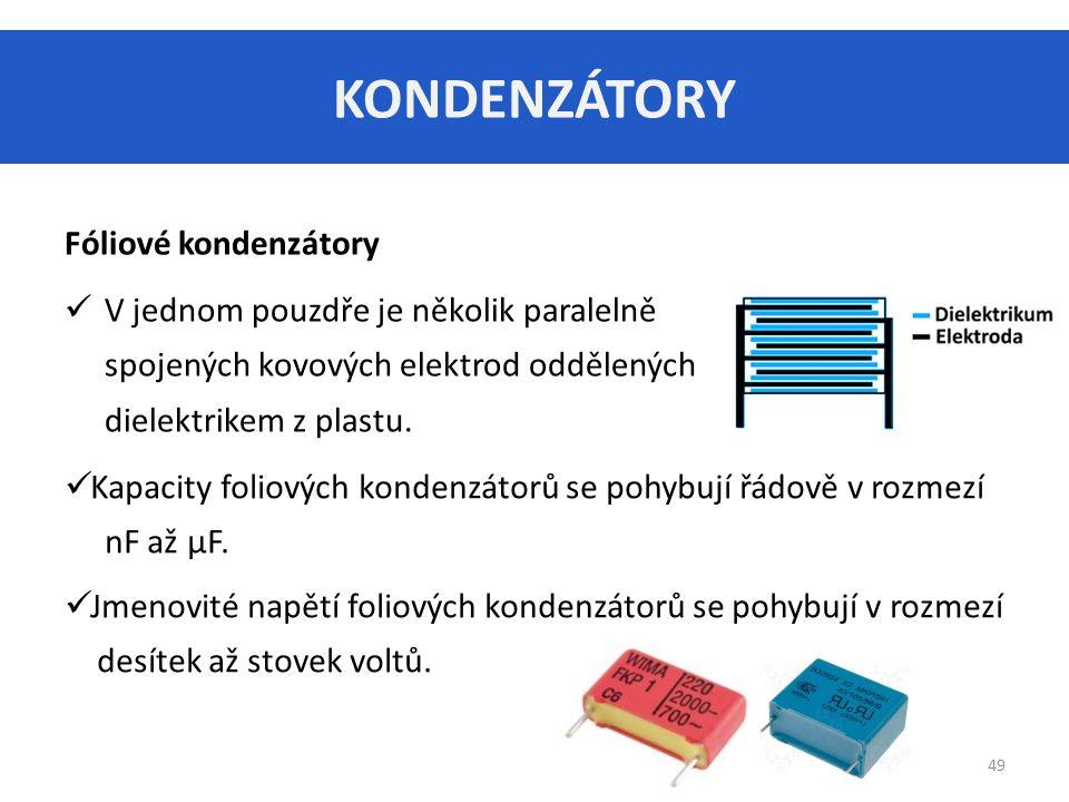 KONDENZÁTORY Fóliové kondenzátory