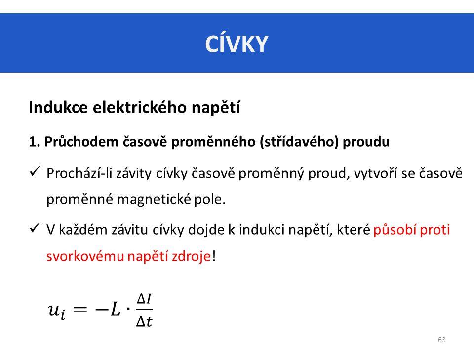 CÍVKY 𝑢 𝑖 =−𝐿∙ ∆𝐼 Δ𝑡 Indukce elektrického napětí