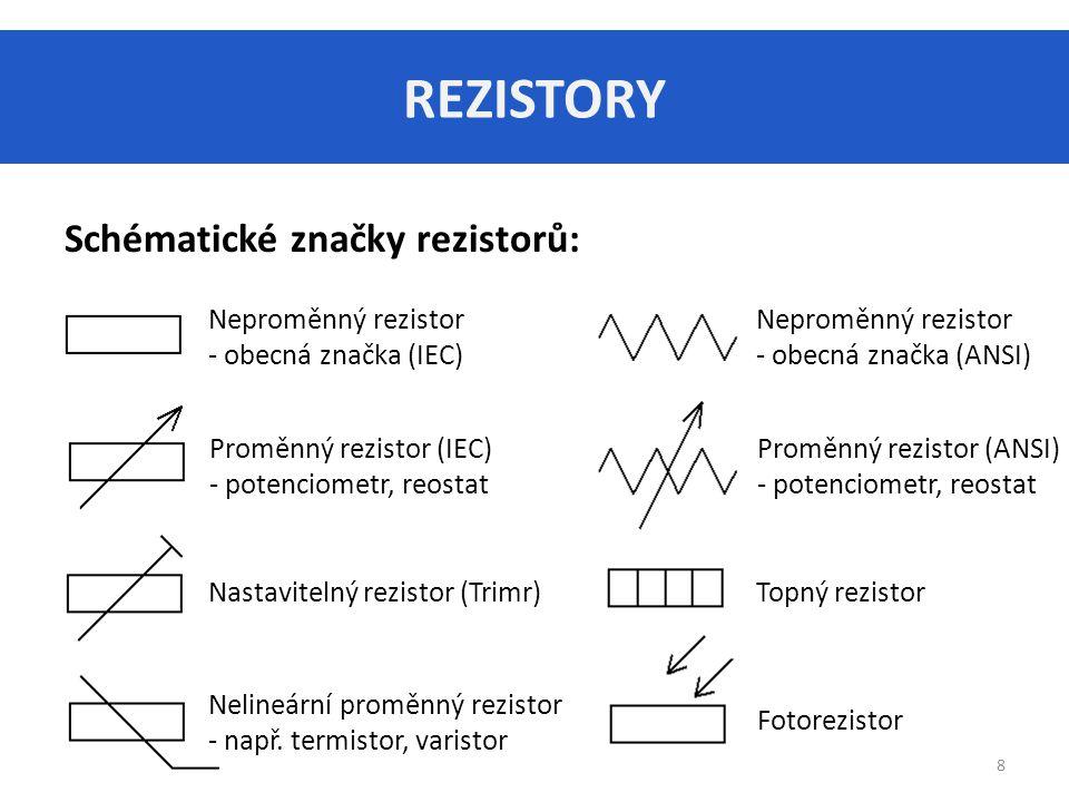 REZISTORY Schématické značky rezistorů: