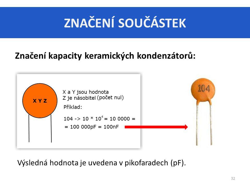 ZNAČENÍ SOUČÁSTEK Značení kapacity keramických kondenzátorů: