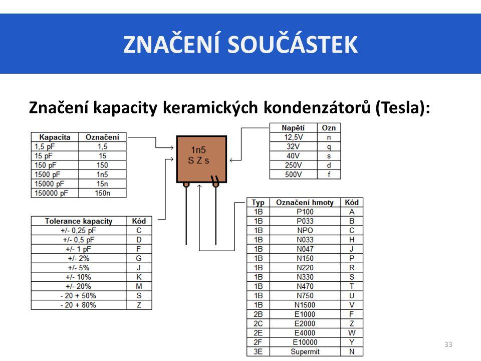 ZNAČENÍ SOUČÁSTEK Značení kapacity keramických kondenzátorů (Tesla):