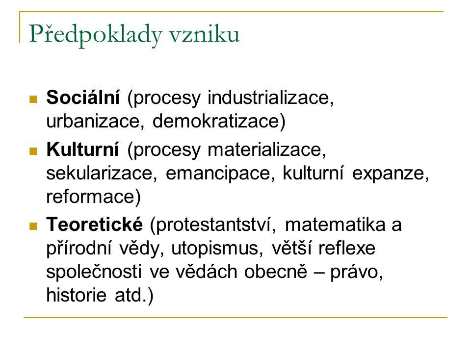 Předpoklady vzniku Sociální (procesy industrializace, urbanizace, demokratizace)
