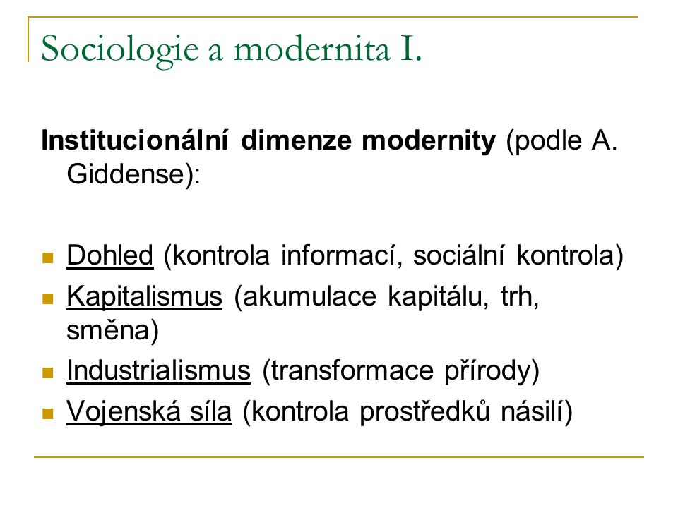 Sociologie a modernita I.