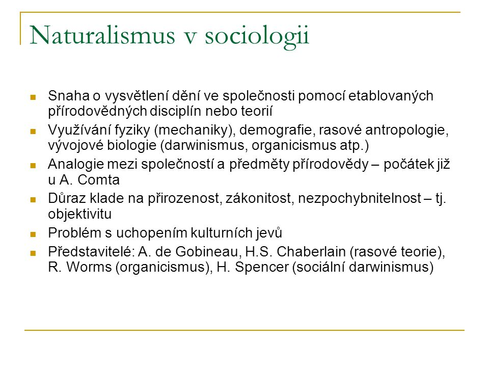 Naturalismus v sociologii