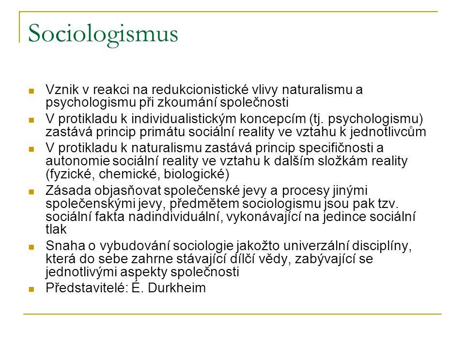 Sociologismus Vznik v reakci na redukcionistické vlivy naturalismu a psychologismu při zkoumání společnosti.