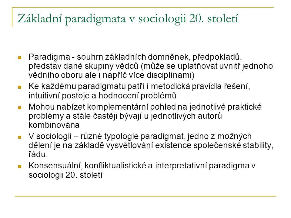 Základní paradigmata v sociologii 20. století