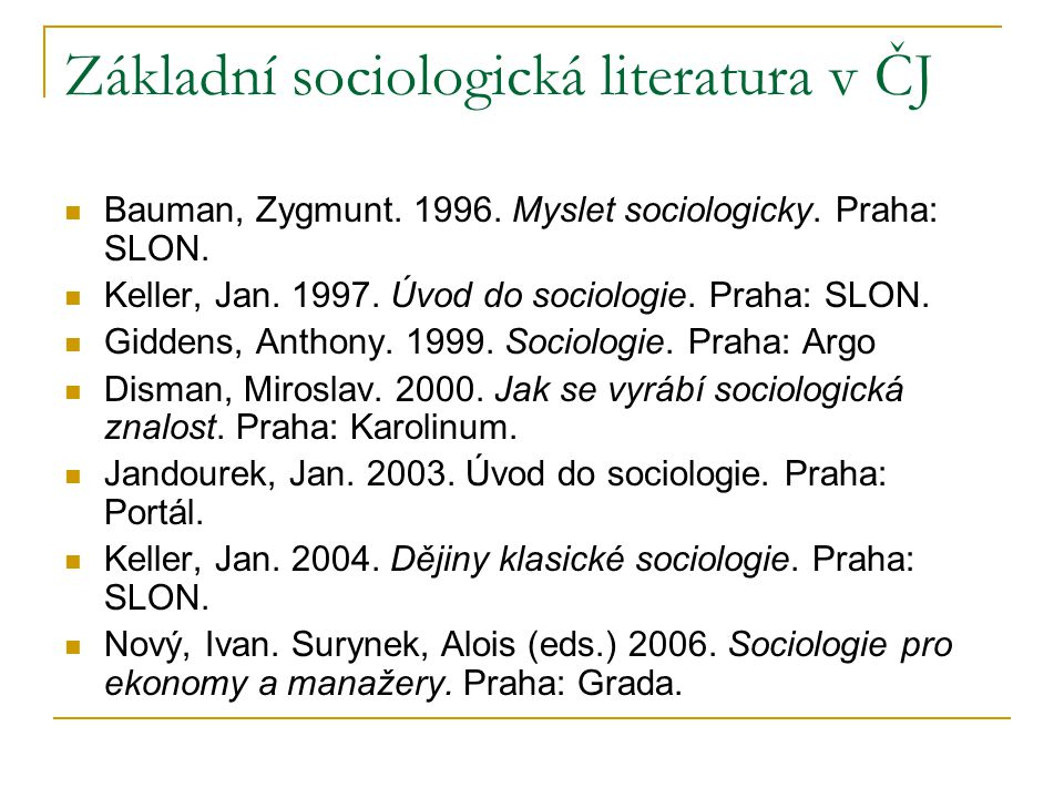 Základní sociologická literatura v ČJ