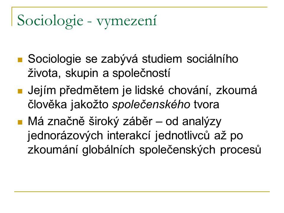 Sociologie - vymezení Sociologie se zabývá studiem sociálního života, skupin a společností.