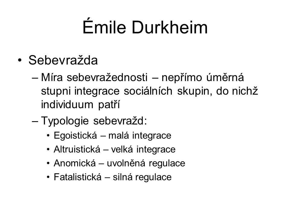Émile Durkheim Sebevražda