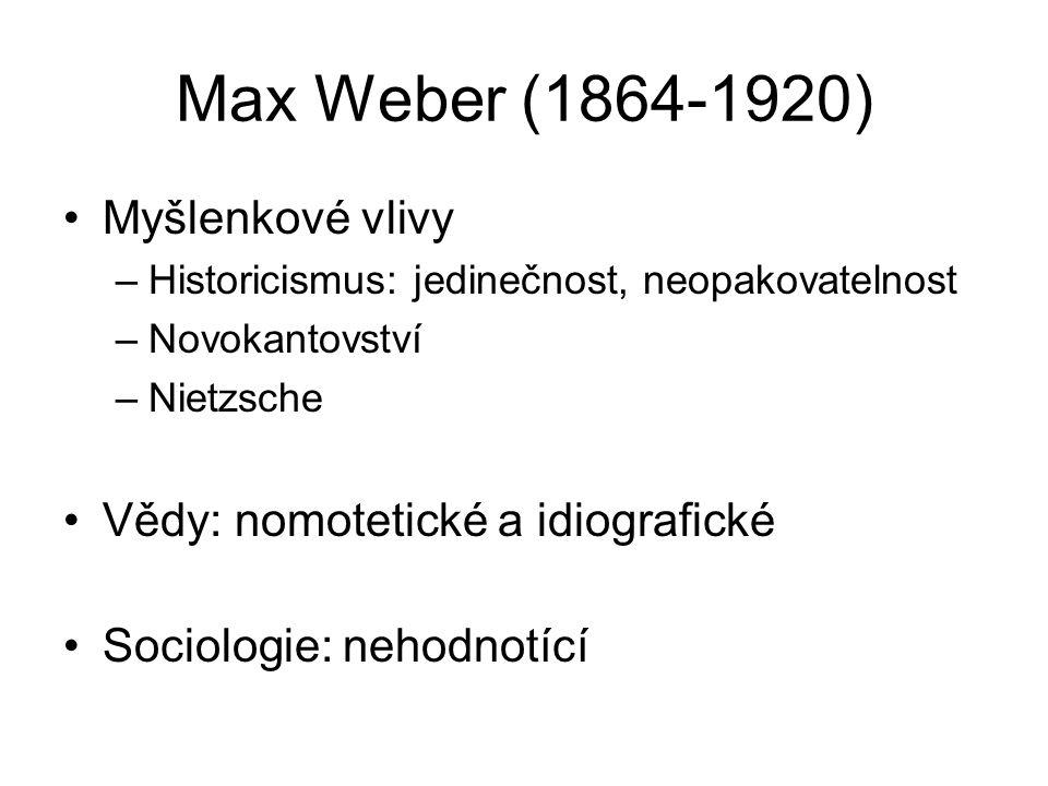 Max Weber (1864-1920) Myšlenkové vlivy
