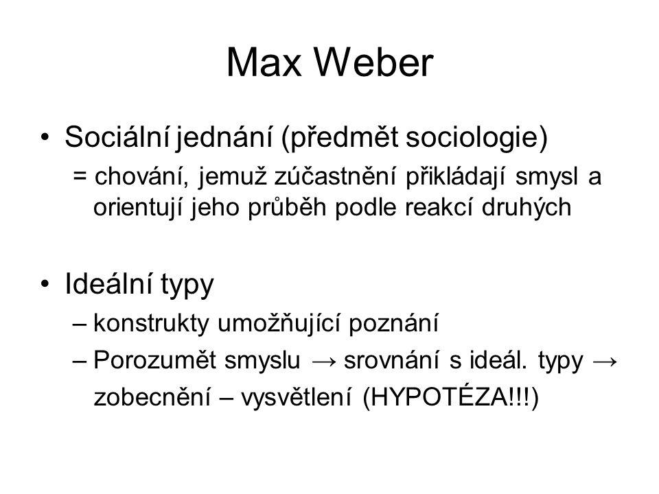 Max Weber Sociální jednání (předmět sociologie) Ideální typy