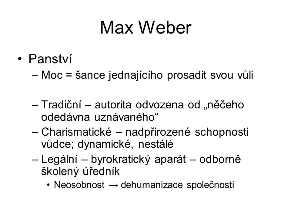 Max Weber Panství Moc = šance jednajícího prosadit svou vůli
