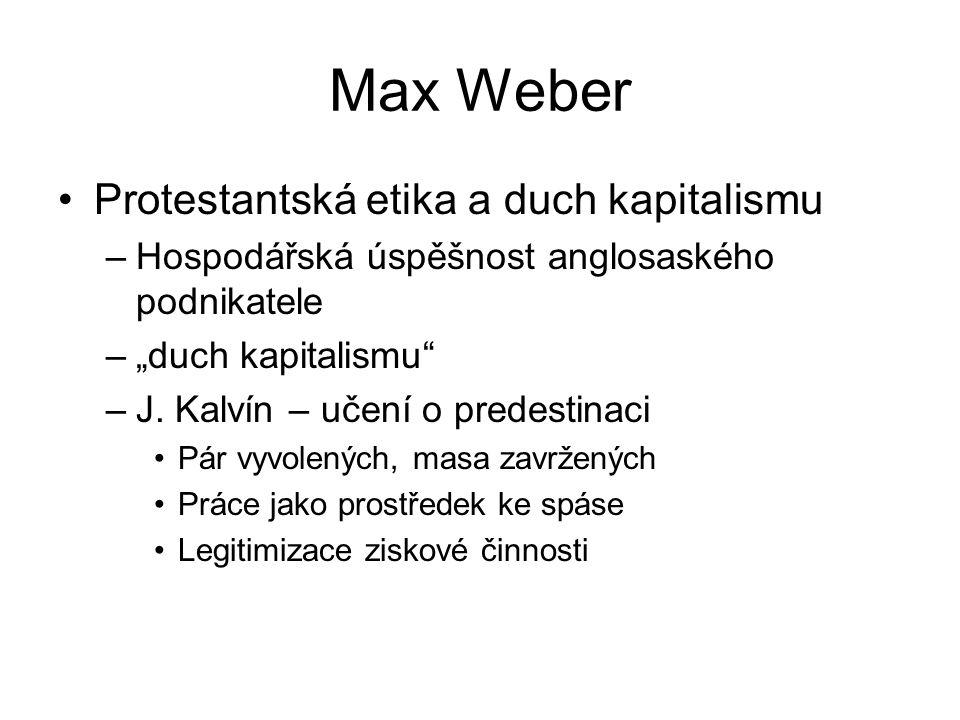 Max Weber Protestantská etika a duch kapitalismu