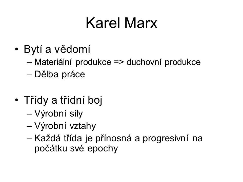 Karel Marx Bytí a vědomí Třídy a třídní boj Dělba práce Výrobní síly