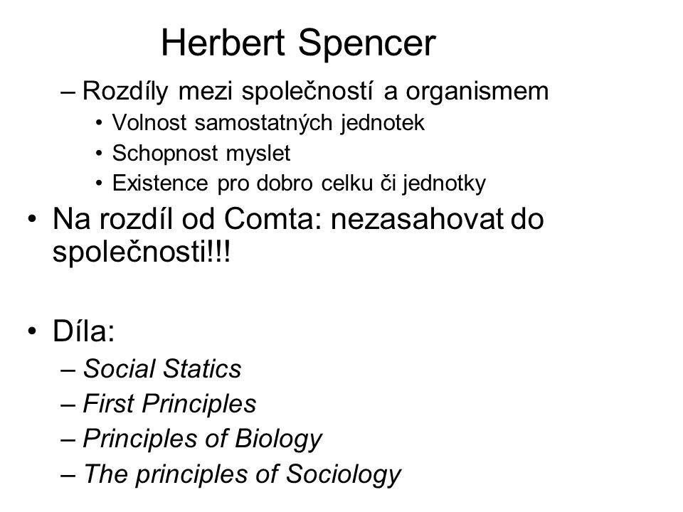Herbert Spencer Na rozdíl od Comta: nezasahovat do společnosti!!!