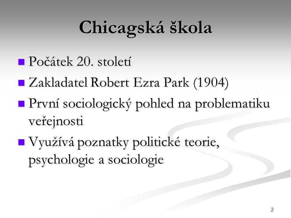 Chicagská škola Počátek 20. století Zakladatel Robert Ezra Park (1904)