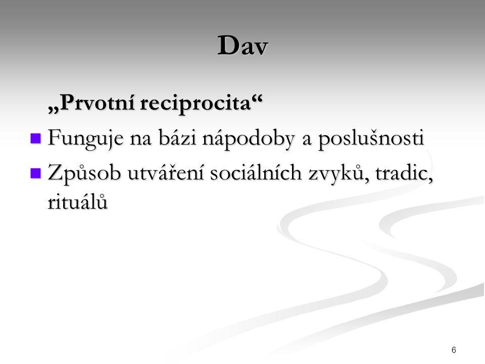"""Dav """"Prvotní reciprocita Funguje na bázi nápodoby a poslušnosti"""