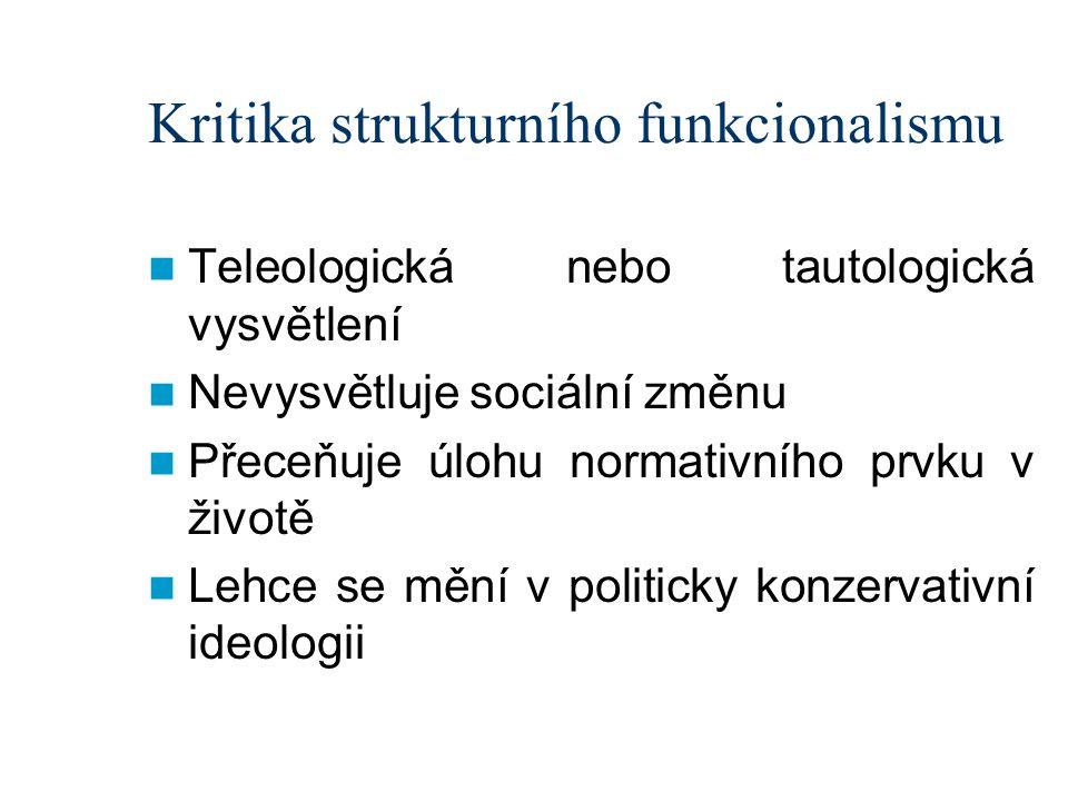 Kritika strukturního funkcionalismu