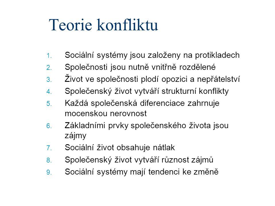 Teorie konfliktu Sociální systémy jsou založeny na protikladech