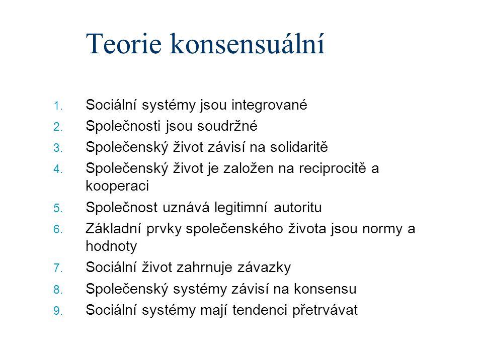 Teorie konsensuální Sociální systémy jsou integrované
