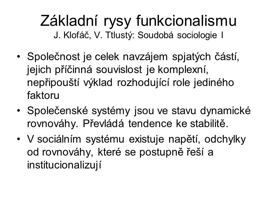 Základní rysy funkcionalismu J. Klofáč, V