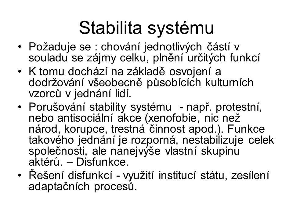 Stabilita systému Požaduje se : chování jednotlivých částí v souladu se zájmy celku, plnění určitých funkcí.