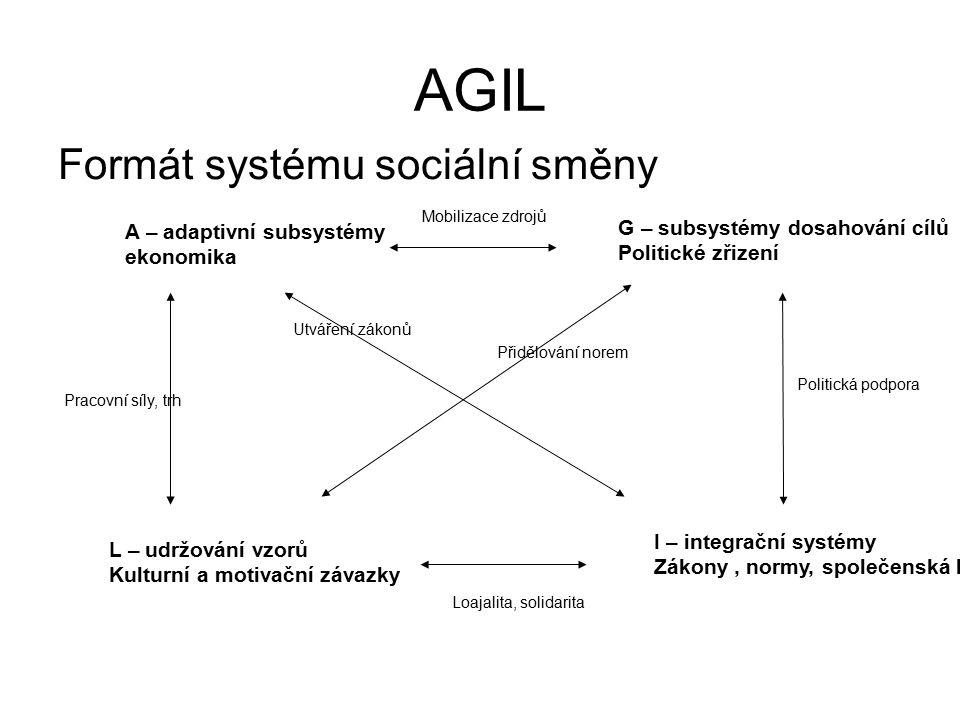 AGIL Formát systému sociální směny G – subsystémy dosahování cílů
