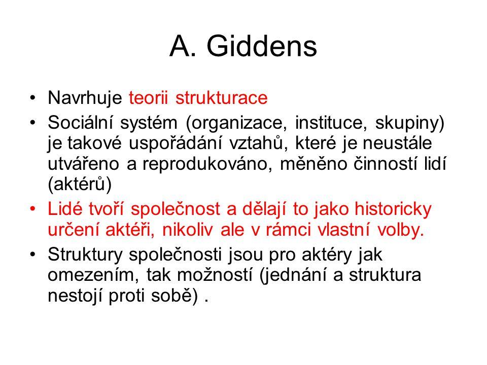 A. Giddens Navrhuje teorii strukturace