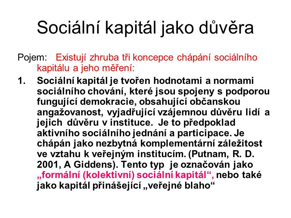Sociální kapitál jako důvěra