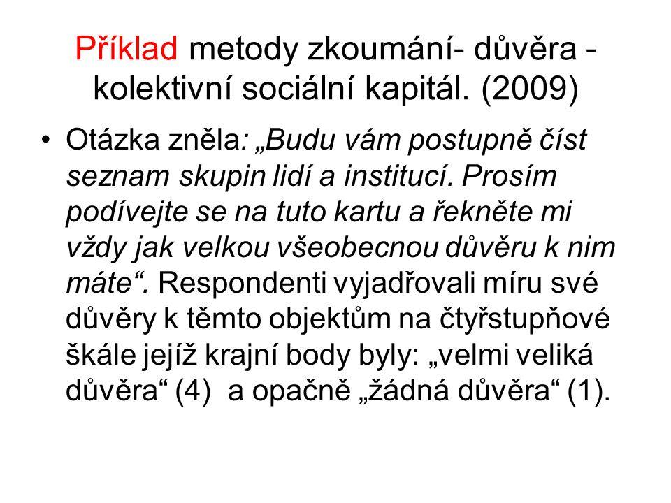 Příklad metody zkoumání- důvěra - kolektivní sociální kapitál. (2009)