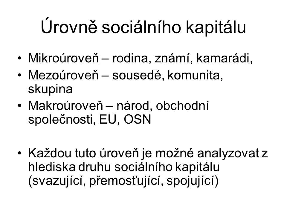 Úrovně sociálního kapitálu