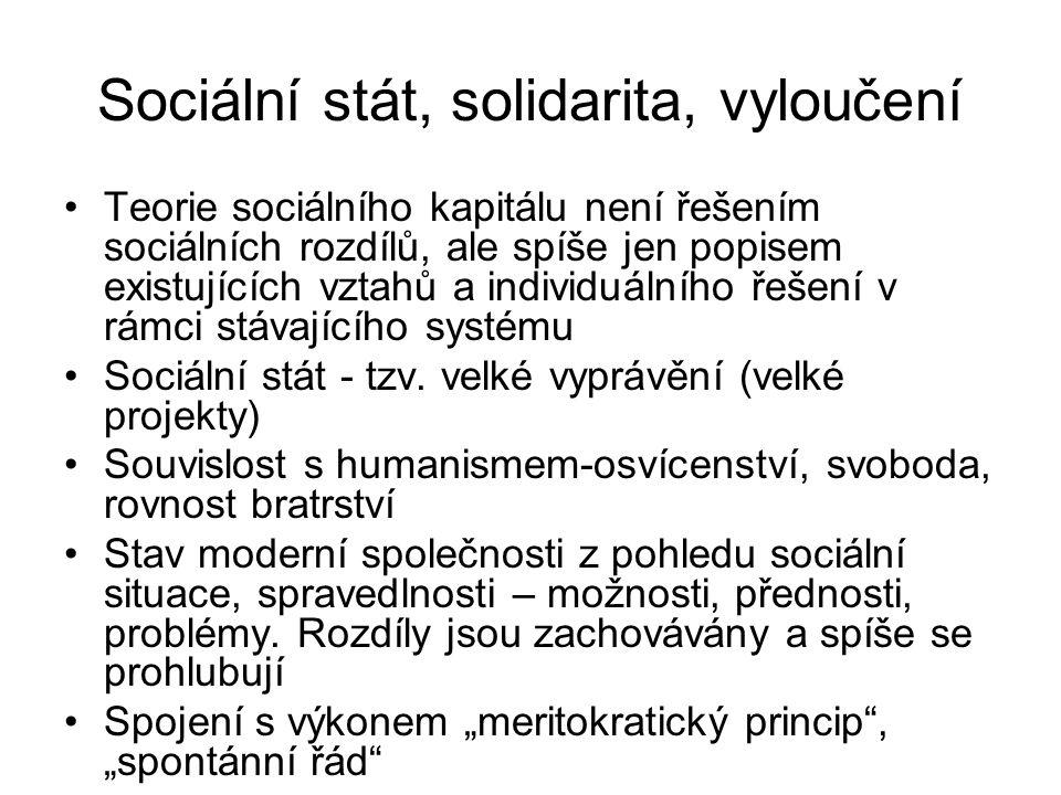 Sociální stát, solidarita, vyloučení