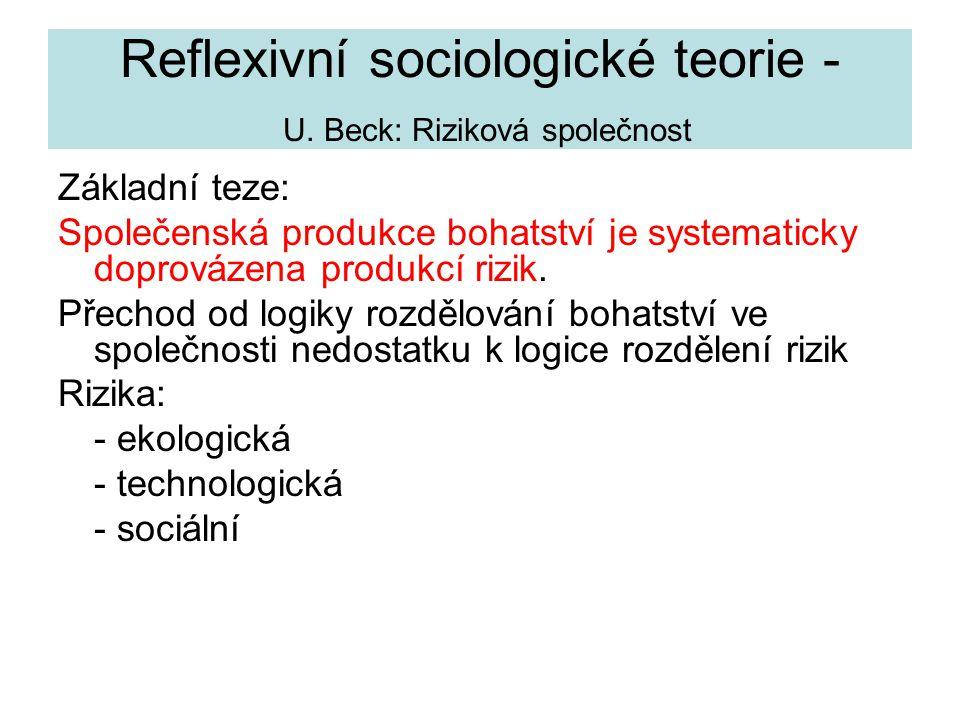 Reflexivní sociologické teorie - U. Beck: Riziková společnost