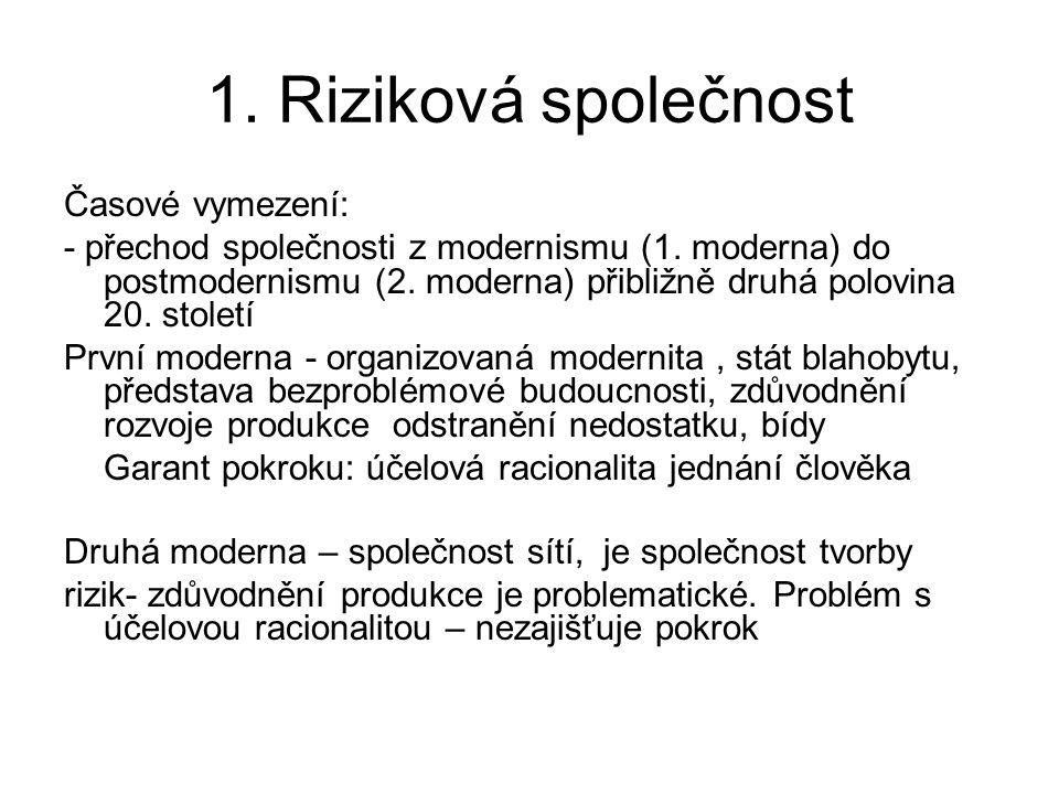 1. Riziková společnost Časové vymezení: