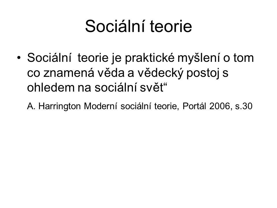 Sociální teorie Sociální teorie je praktické myšlení o tom co znamená věda a vědecký postoj s ohledem na sociální svět