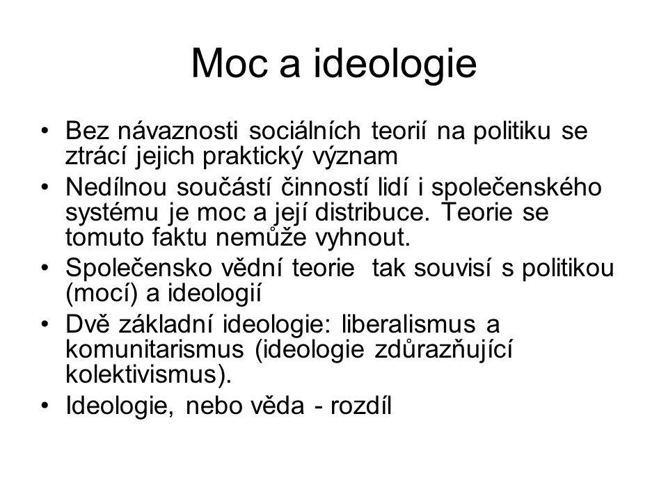 Moc a ideologie Bez návaznosti sociálních teorií na politiku se ztrácí jejich praktický význam.