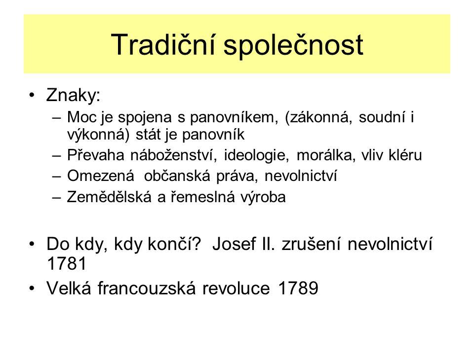 Tradiční společnost Znaky: