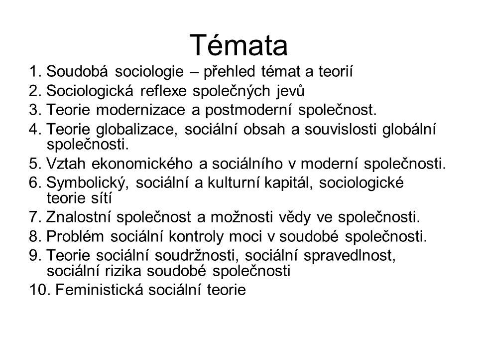 Témata 1. Soudobá sociologie – přehled témat a teorií