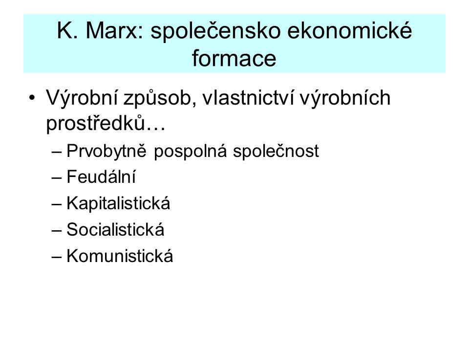 K. Marx: společensko ekonomické formace