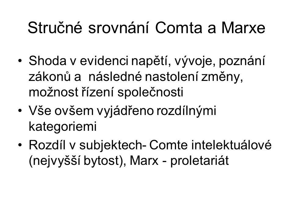 Stručné srovnání Comta a Marxe